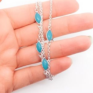 Blue Chalcedony 925 Sterling Silver Chain Necklace